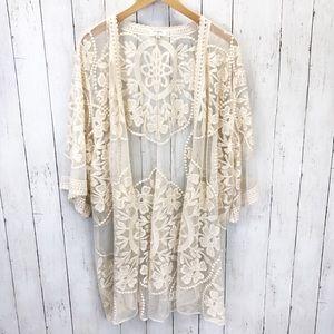 Umgee Cream Lace Kimono Duster Top Sz M ::EE2